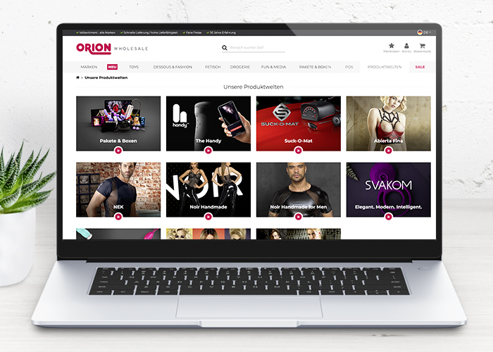 New features for more overview and service: Online shopping at ORION Wholesale
